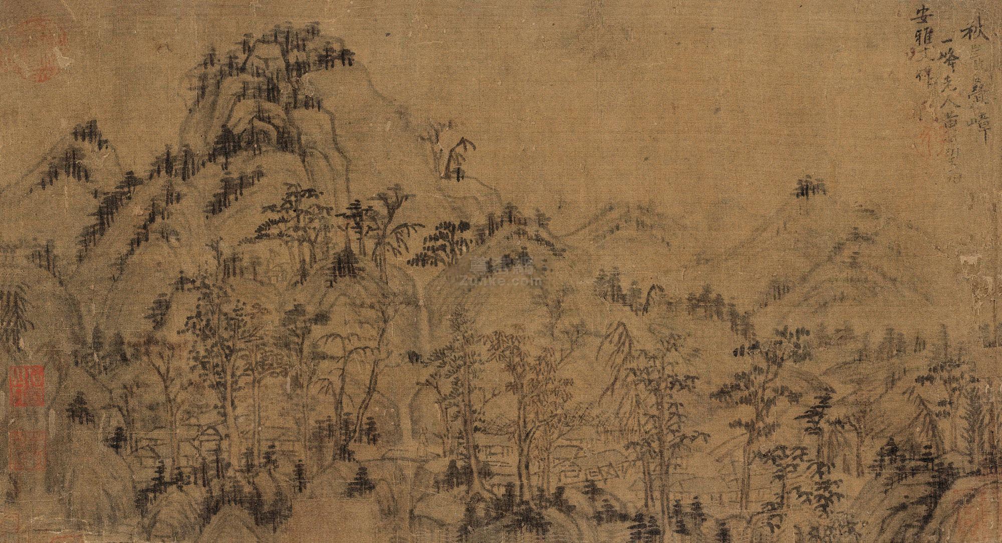 黄公望 秋岩叠嶂 镜片连框 水墨绢本作品欣赏