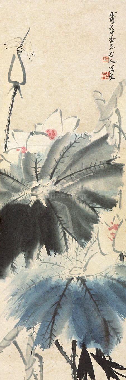 齐白石 荷花蜻蜓 立轴 纸本作品欣赏