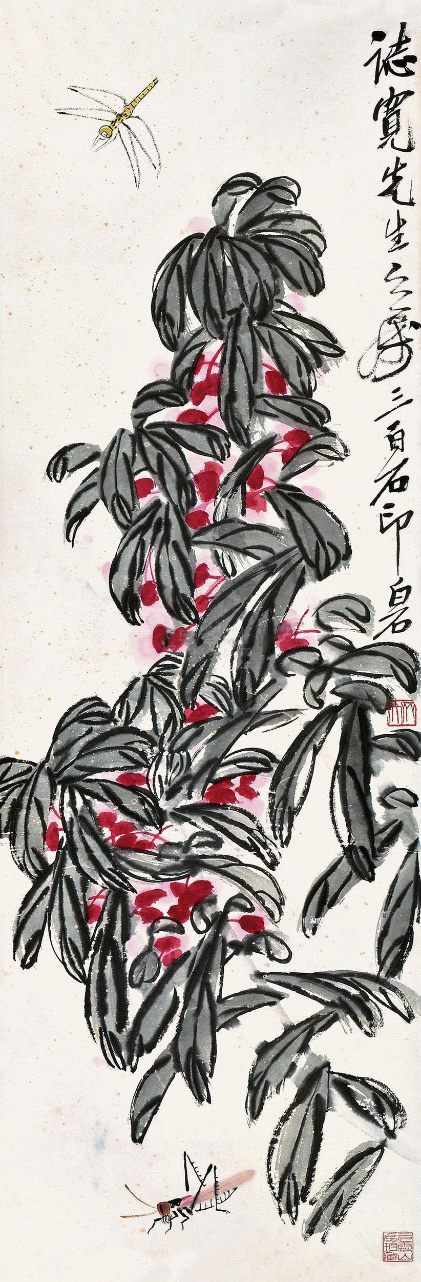 齐白石 齐白石 花卉草虫 立轴作品欣赏