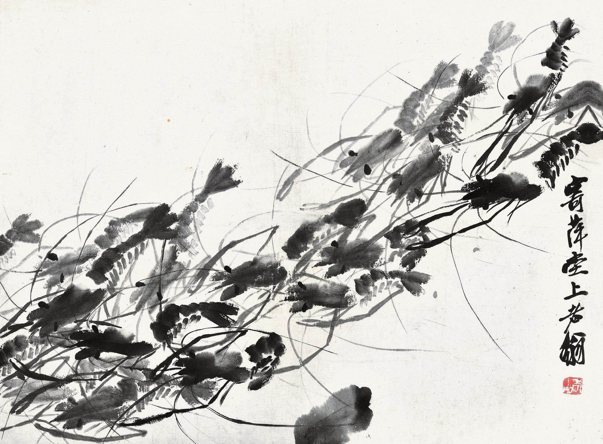 齐白石 齐白石 群虾图 镜片作品欣赏