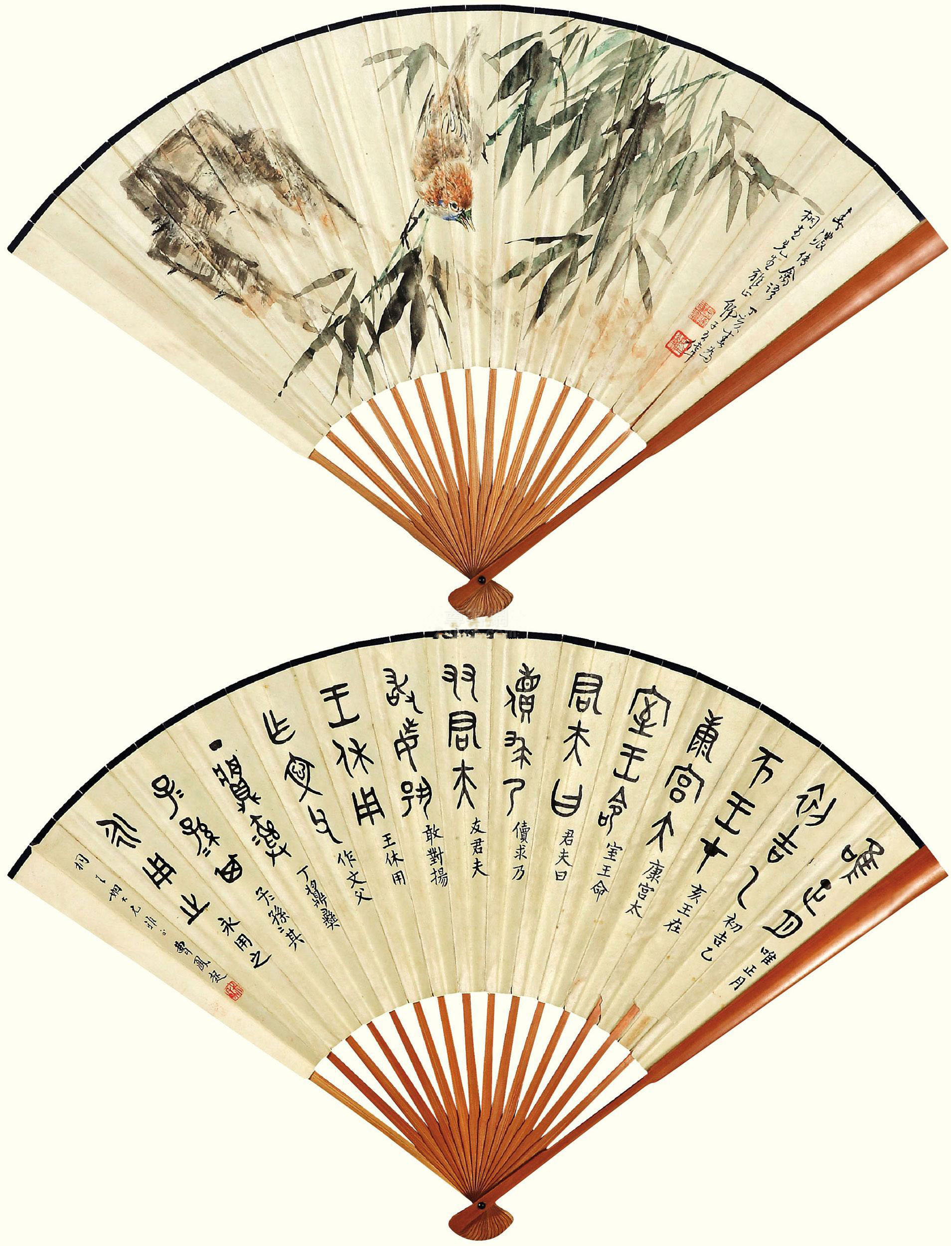 王伟作品欣赏王伟 竹雀图 成扇 设色纸本