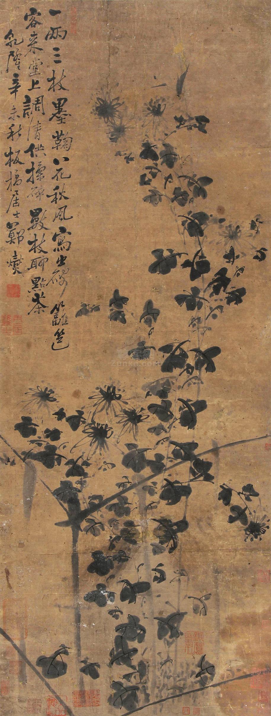 郑板桥 秋菊图 立轴 设色纸本作品欣赏