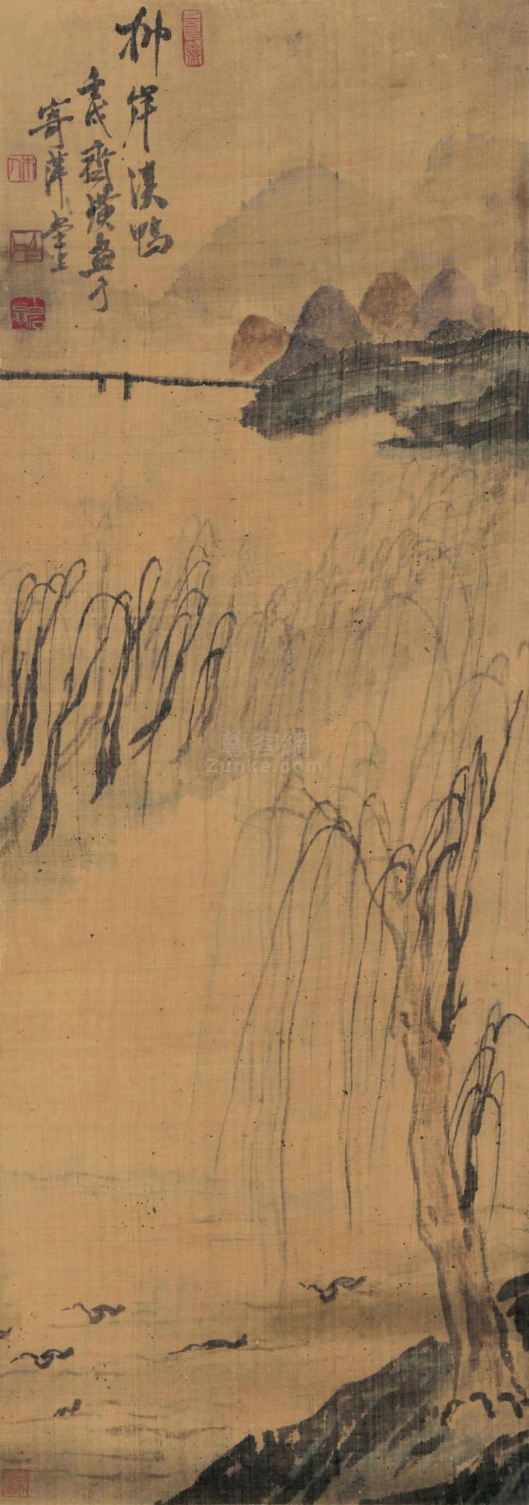 齐白石 溪鸭图 立轴 设色绢本作品欣赏