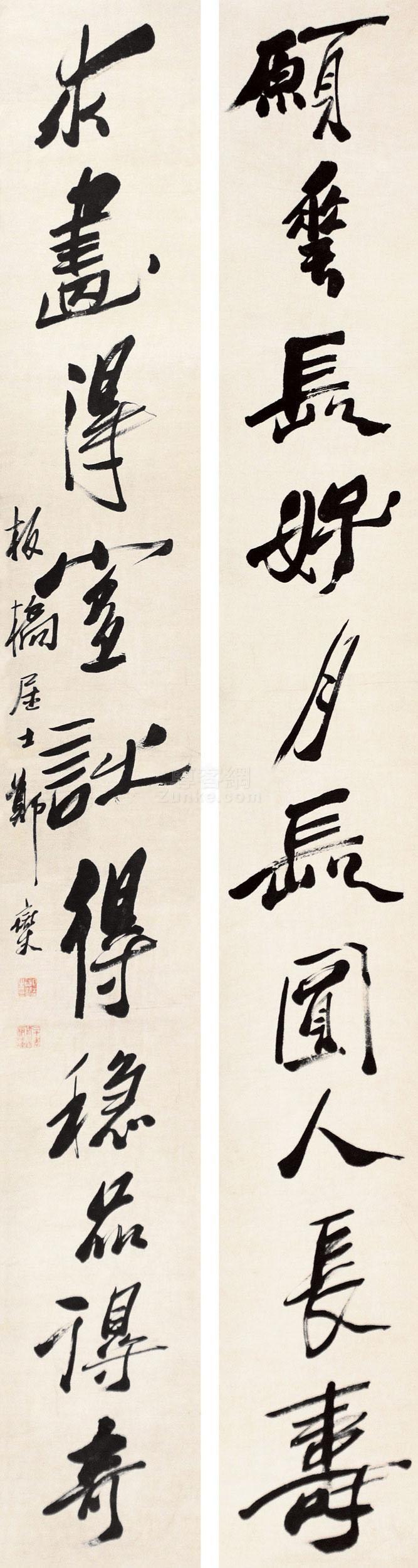 郑板桥 书法对联 立轴 纸本作品欣赏