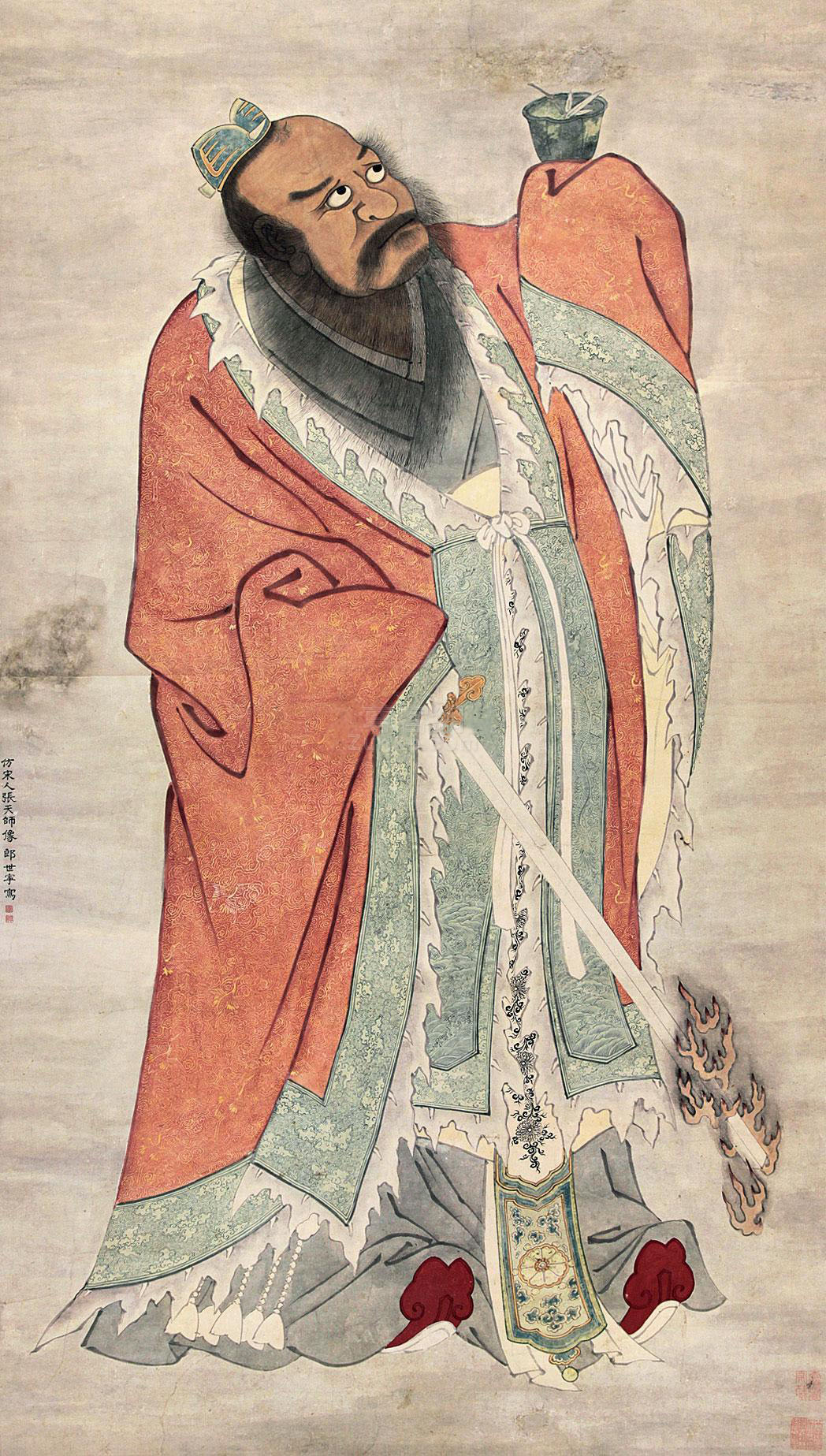 郎世宁 张天师像 立轴 纸本作品欣赏