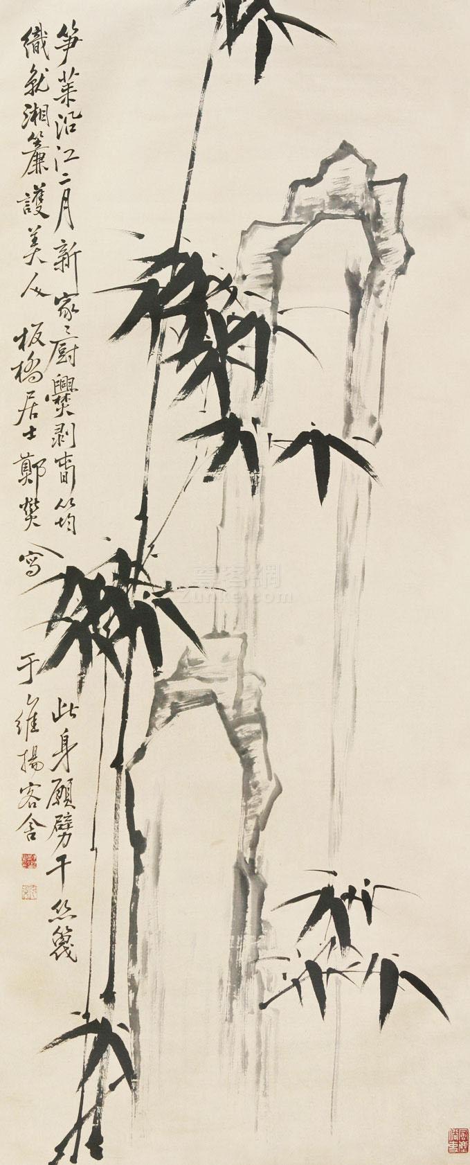 郑板桥 竹石图 立轴 水墨纸本作品欣赏