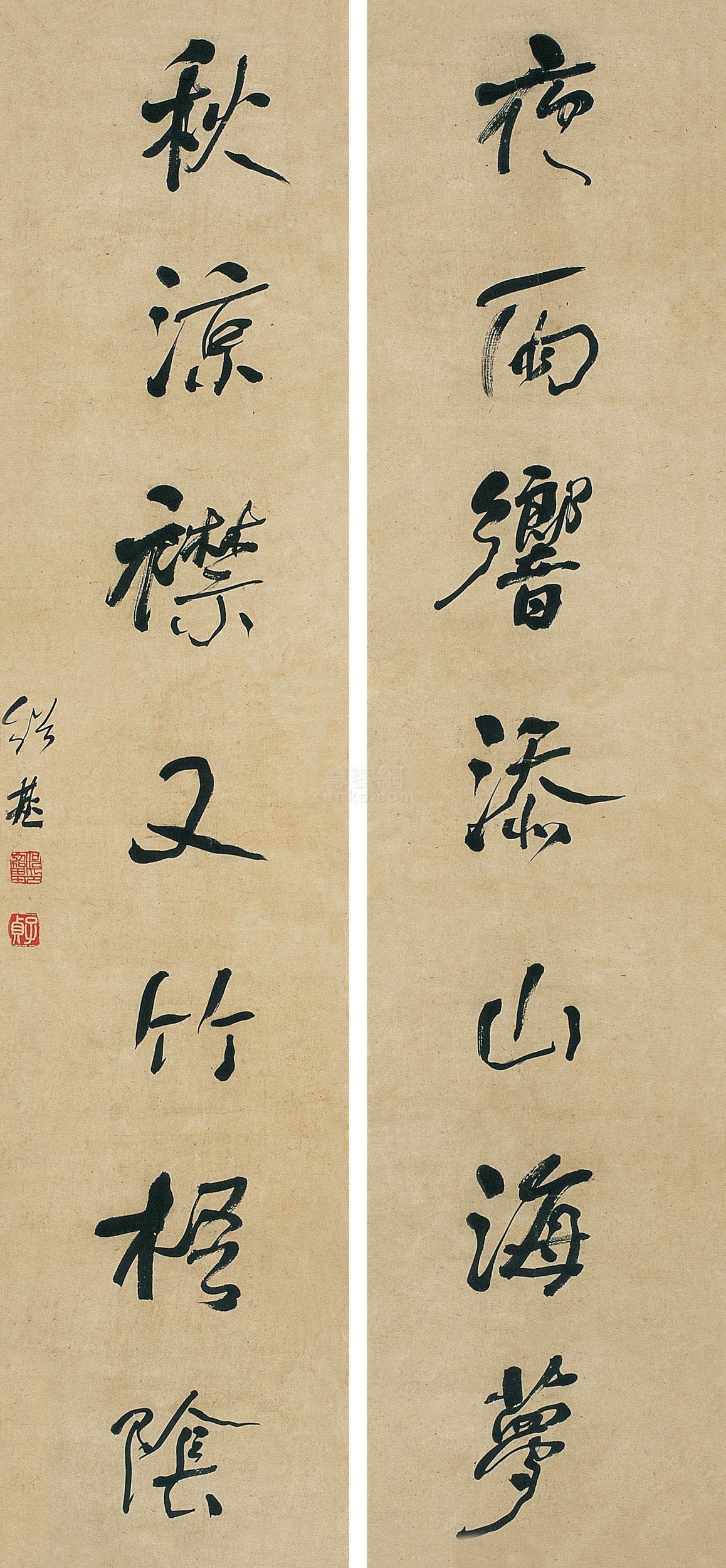 何绍基 行书《夜雨秋凉》七言 对联 水墨纸本作品欣赏