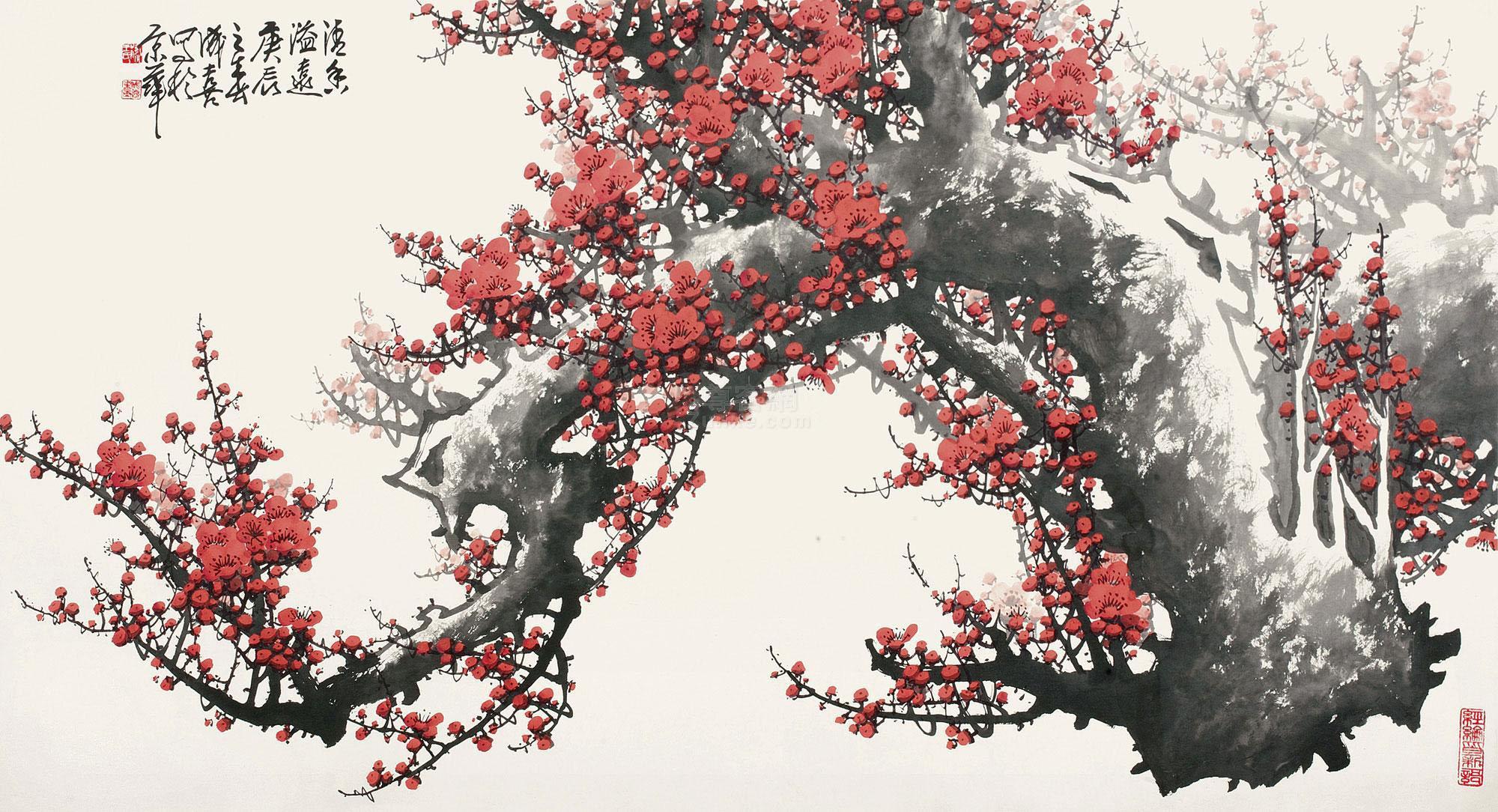 王成喜 红梅横幅 镜心 设色纸本作品欣赏