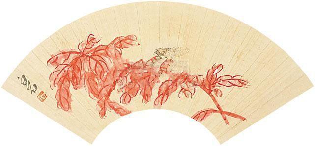 齐白石 雁来红 镜片 纸本作品欣赏
