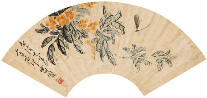 齐白石 花卉 扇片 纸本作品欣赏