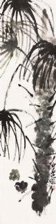 齐白石 棕榈小鸡 立轴 纸本作品欣赏
