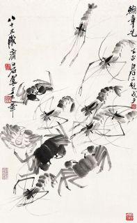 齐白石 虾蟹图 立轴 纸本作品欣赏