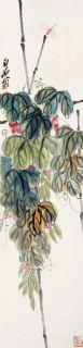 齐白石 花卉蜻蜓 立轴 设色纸本作品欣赏