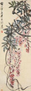 齐白石 紫藤 立轴 纸本作品欣赏