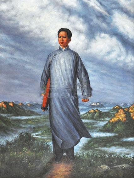 佚名 毛主席去安源 布面 油画作品欣赏