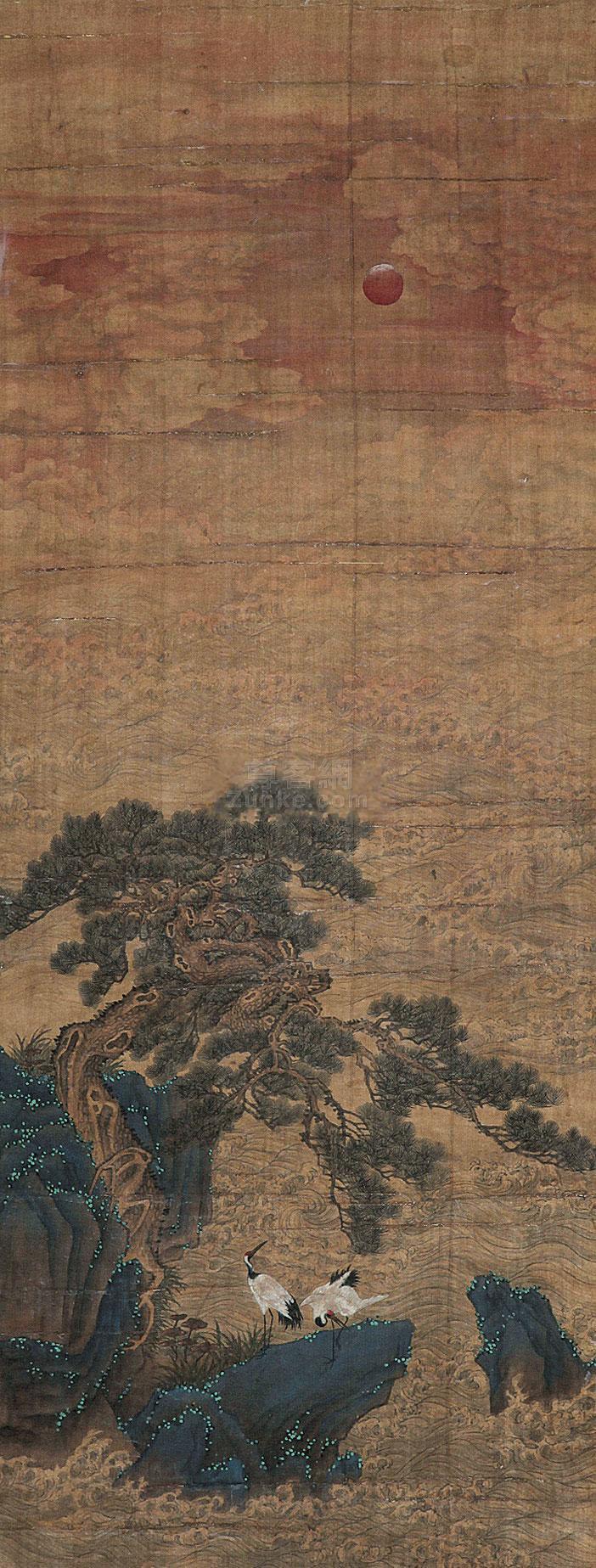 佚名 松鹤双寿 立轴 绢本作品欣赏