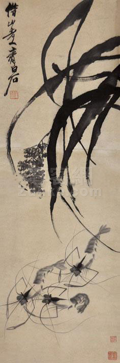 齐白石 群虾图 立轴 纸本作品欣赏