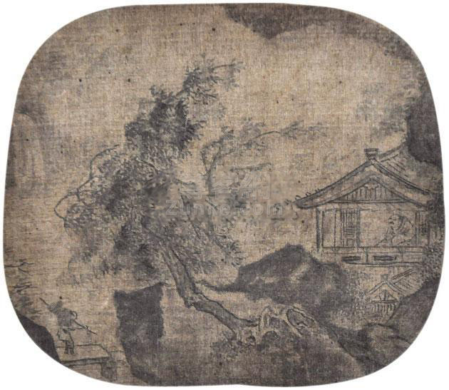 佚名 访友图 镜框 绢本作品欣赏