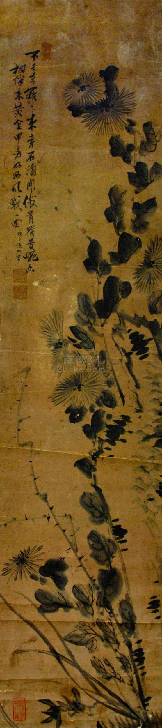 佚名 秋菊图 立轴 纸本作品欣赏