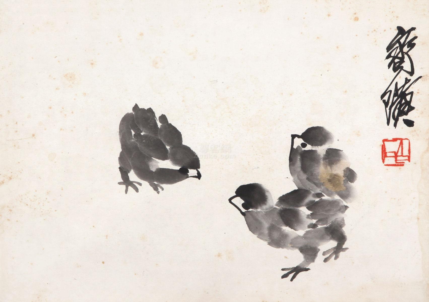 齐白石 小鸡 镜框 纸本作品欣赏