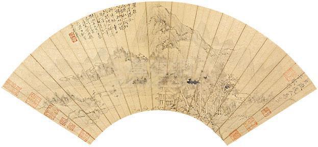 黄公望 山水 镜片 纸本作品欣赏