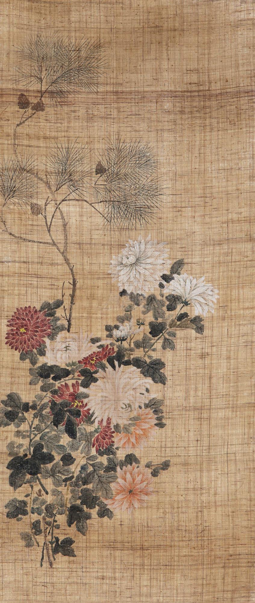 佚名 花卉 镜片 绢本作品欣赏