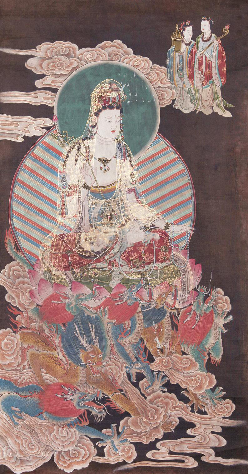 佚名 佛像(观音麒麟) 立轴 绢本作品欣赏