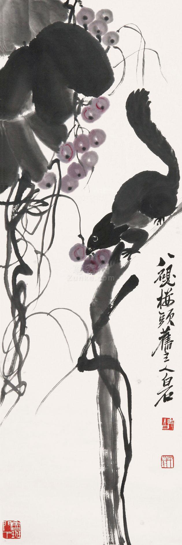 齐白石 松鼠葡萄 立轴 纸本作品欣赏