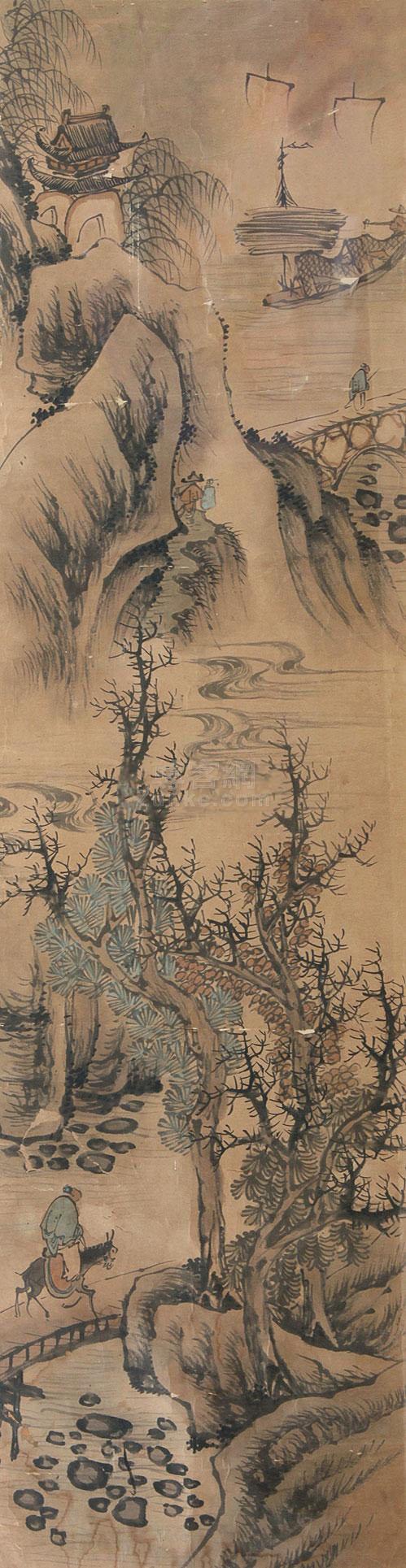 佚名 山水人物 镜框 纸本作品欣赏