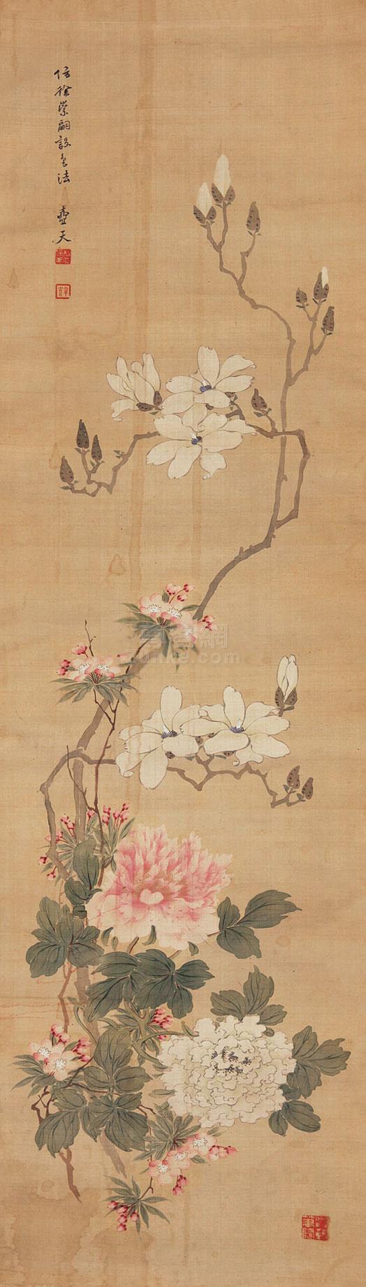 佚名 花卉 立轴 绢本作品欣赏