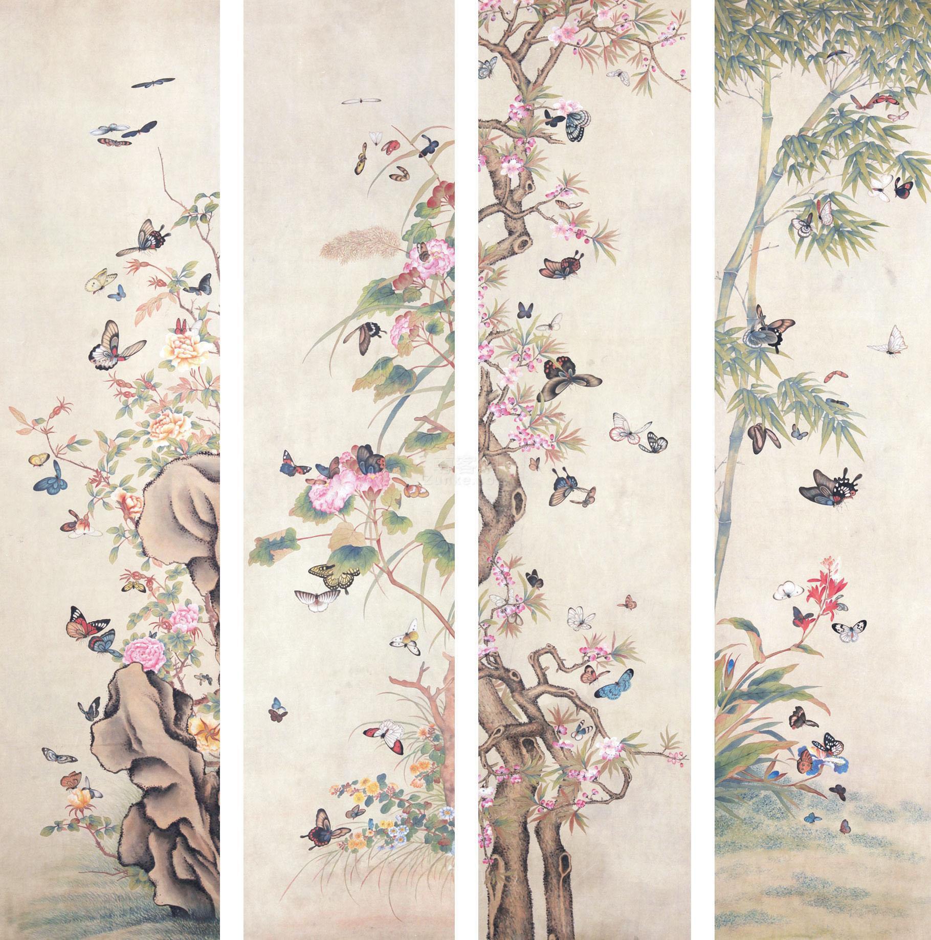 佚名 花卉蝴蝶 镜片 绢本作品欣赏