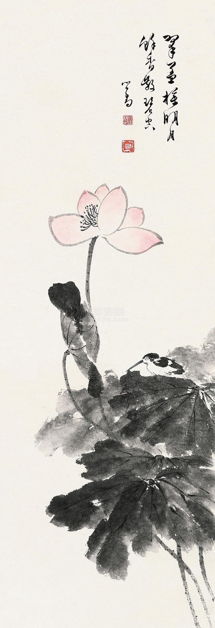 溥儒 荷花 立轴 设色纸本作品欣赏