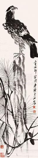 齐白石 松鹰图 立轴 纸本作品欣赏