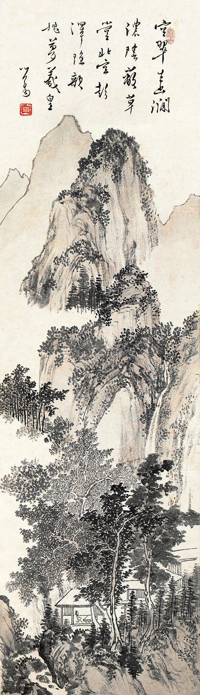溥儒 山林幽居 镜片 水墨纸本作品欣赏