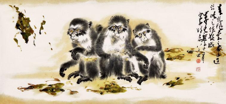 赵少昂作品欣赏赵少昂 猴子 镜片 纸本