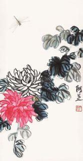 齐白石 菊花蜻蜓 立轴 纸本作品欣赏