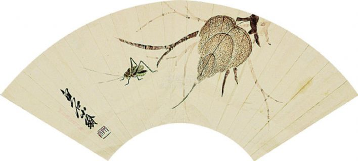 齐白石 工笔贝叶草虫 立轴 纸本作品欣赏