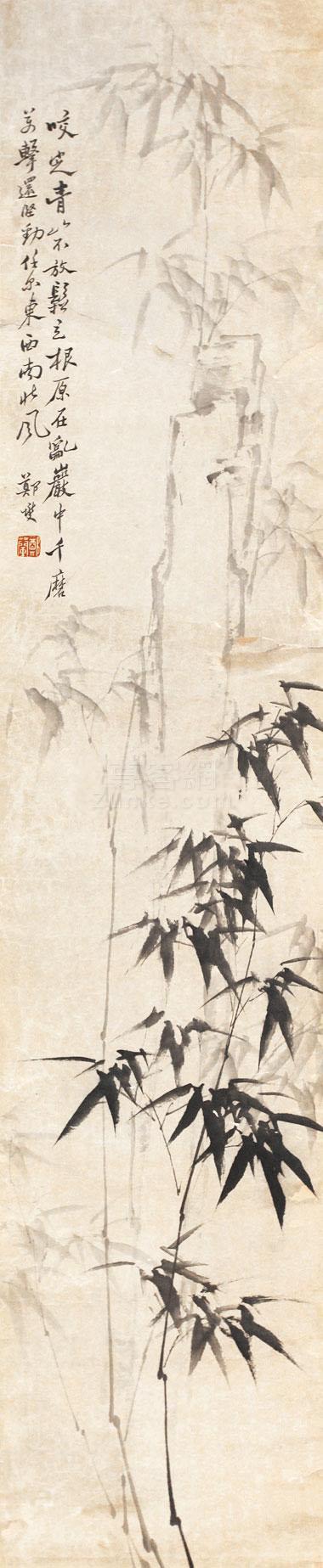 郑板桥 墨竹 立轴作品欣赏