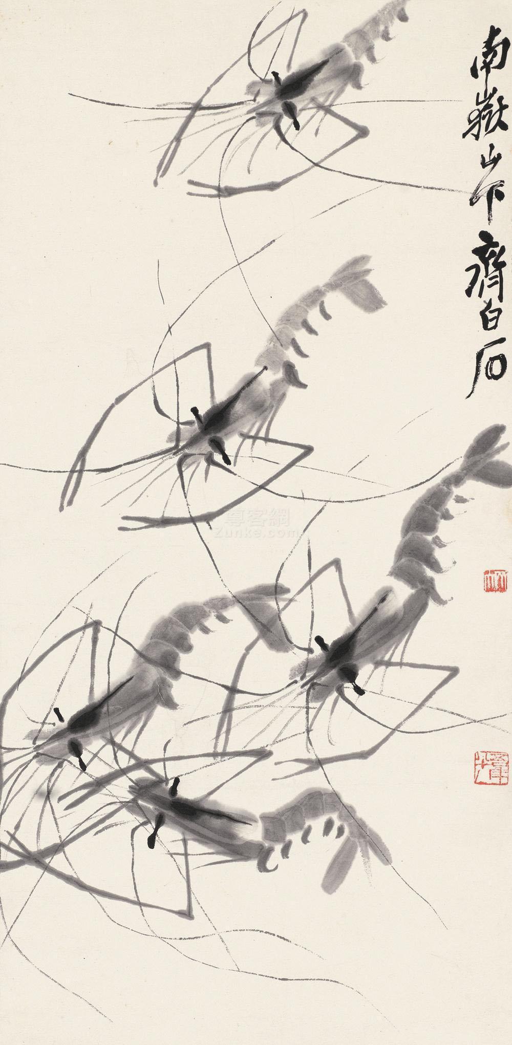 齐白石 群虾图 立轴 水墨纸本作品欣赏