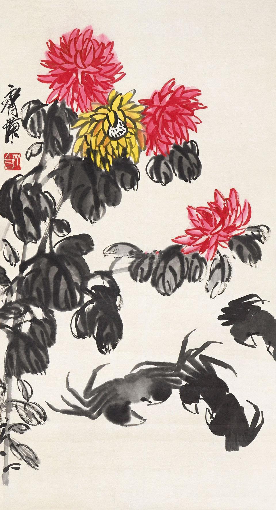 齐白石 菊蟹图 镜片 纸本作品欣赏