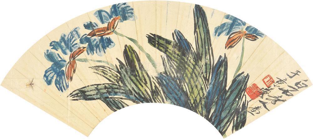 齐白石 兰花蜜蜂 镜框 纸本作品欣赏