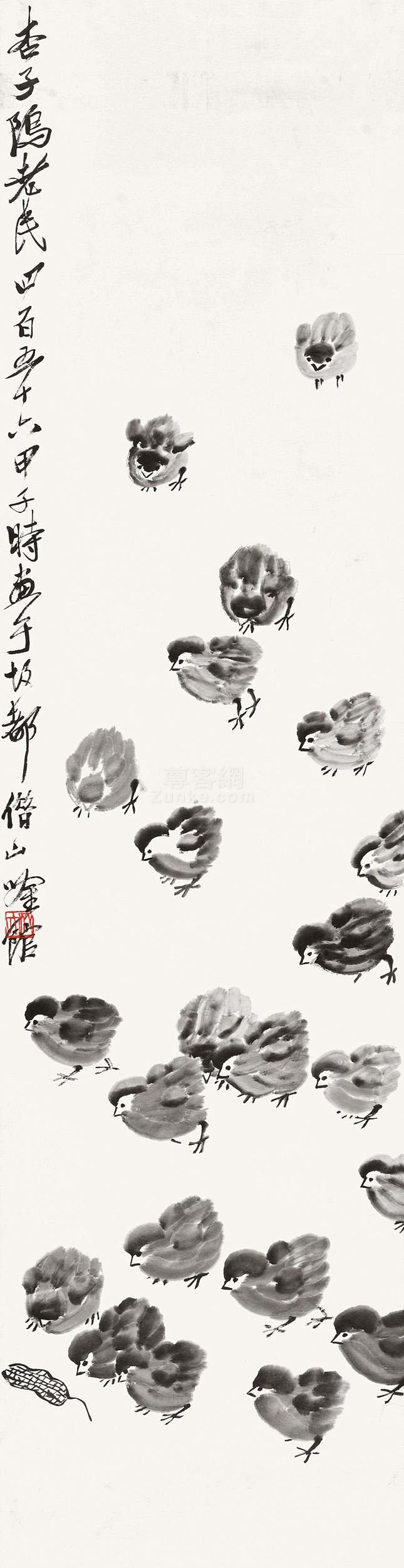 齐白石 群鸡图 立轴 水墨纸本作品欣赏