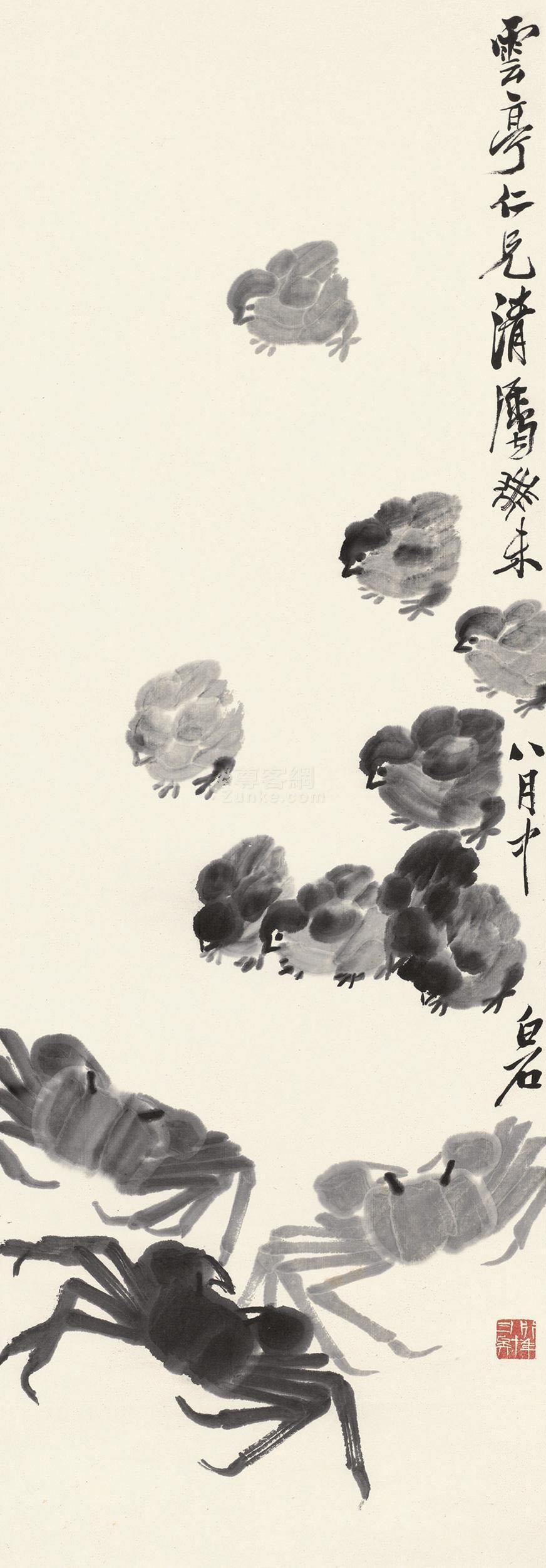 齐白石 鸡戏图 立轴 水墨纸本作品欣赏