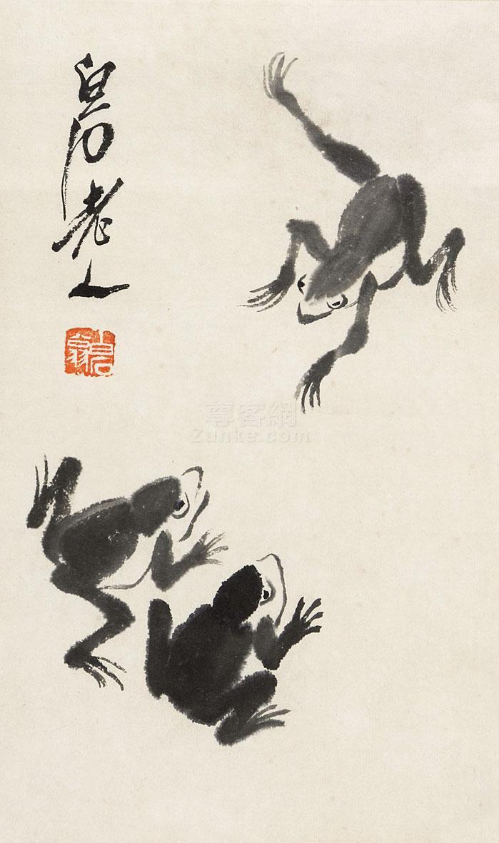 齐白石 青蛙 镜片 纸本作品欣赏