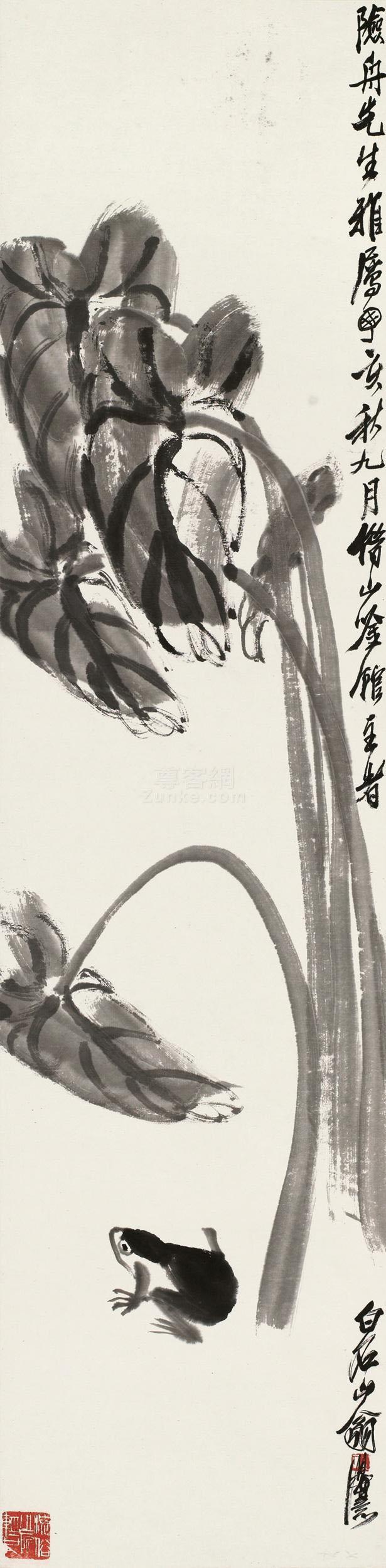 齐白石 田头蛙声 镜片 水墨纸本作品欣赏
