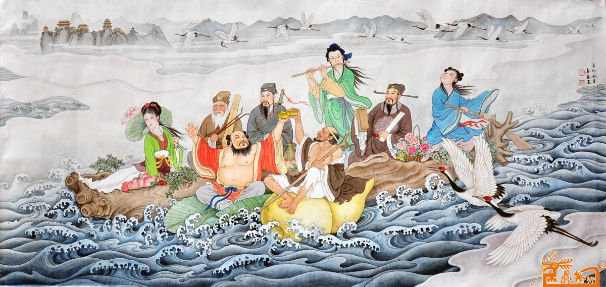 八仙过海国画作品