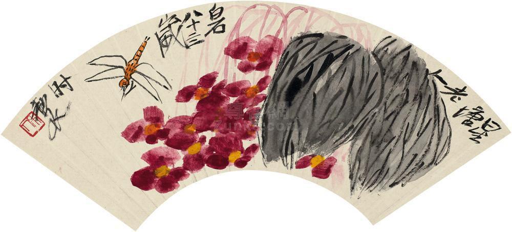 齐白石 海棠蜻蜓 扇面 设色纸本作品欣赏