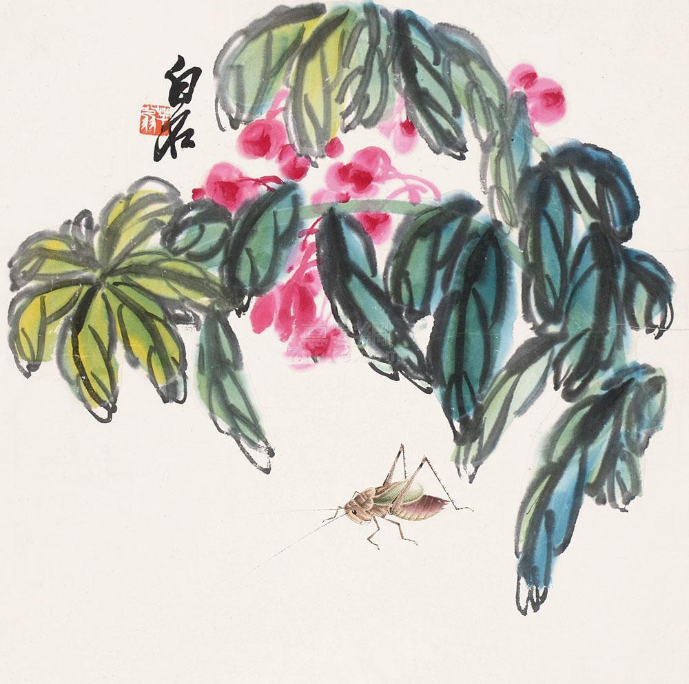 齐白石 花卉草虫 立轴 纸本作品欣赏
