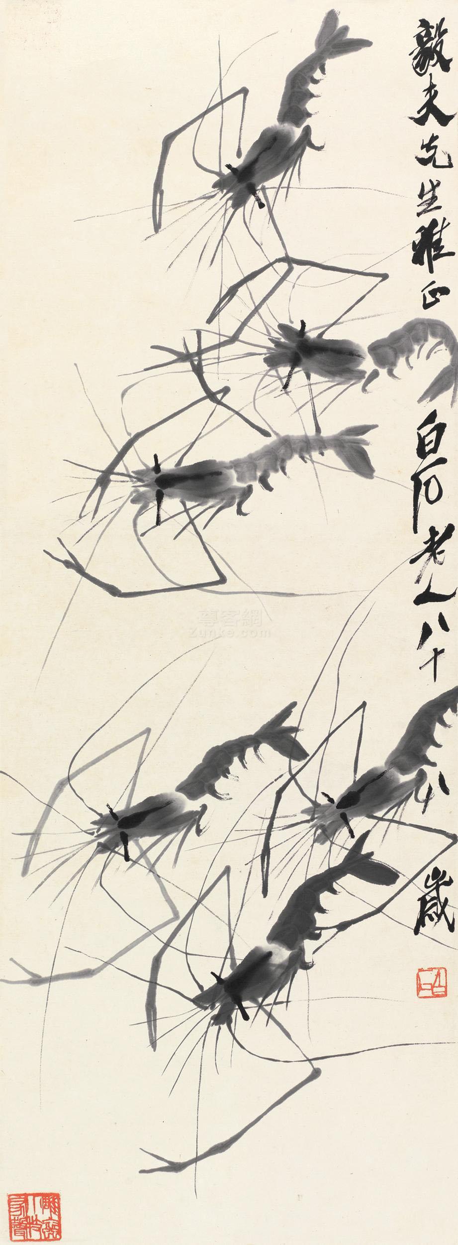齐白石 墨虾 镜片 水墨纸本作品欣赏