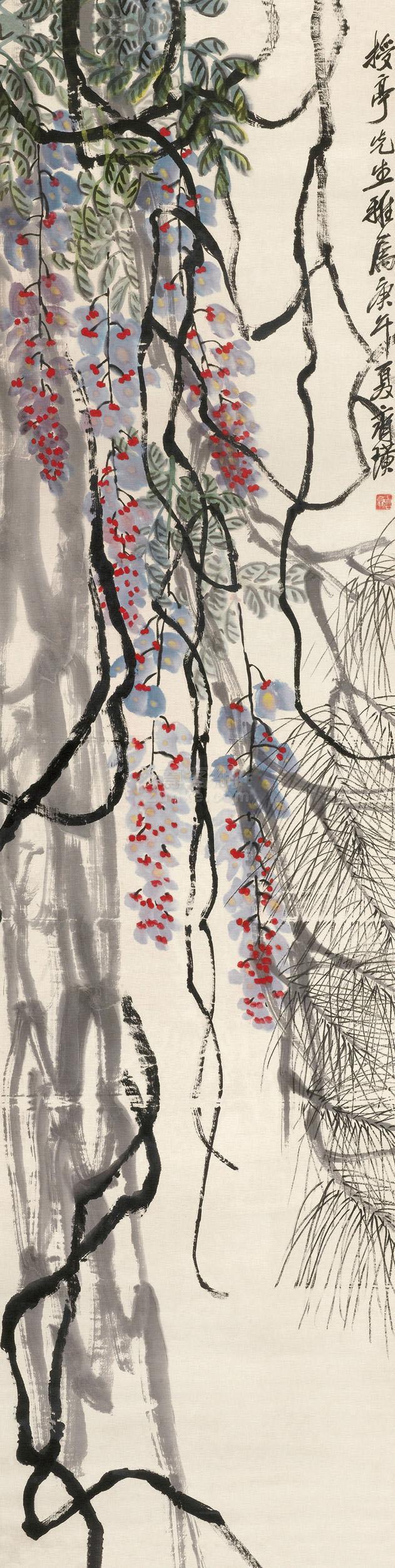 齐白石 紫藤松树 镜框 设色纸本作品欣赏